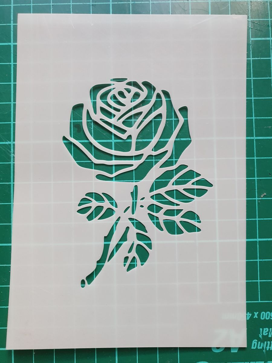 Single dog rose or david Rose stencil