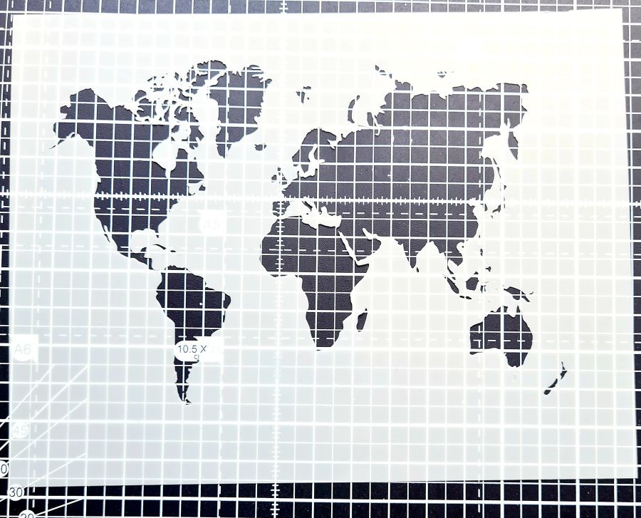 World map Stencil cake decorating