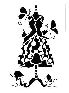 Fantasy dress stencil