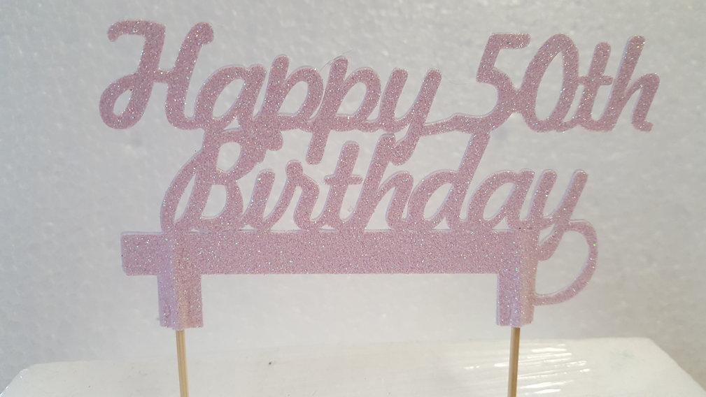 Happy Age Birthday double sided card cake topper