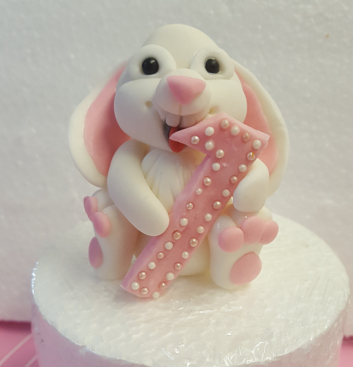 Bunny Holding Number cake topper