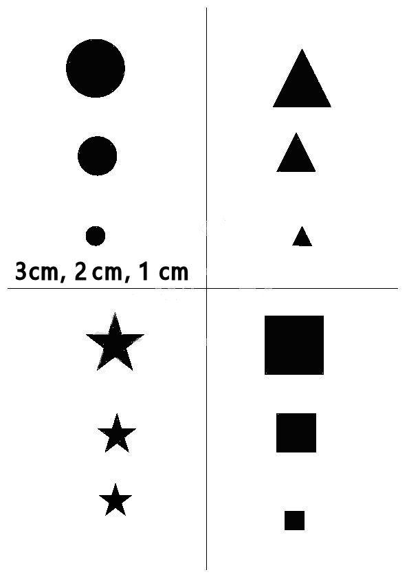 Square, Circle, Diamond, & Star stencil