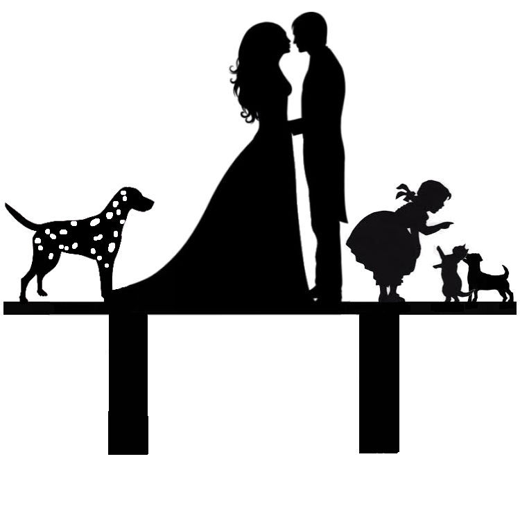 Mr & Mrs with Dalmation,cat,jack russle,and girl cake card topper