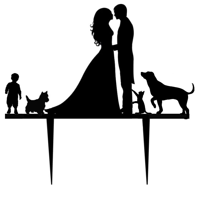 Mr & Mrs with scotty dog,cat,pointer dog,and boycake card topper