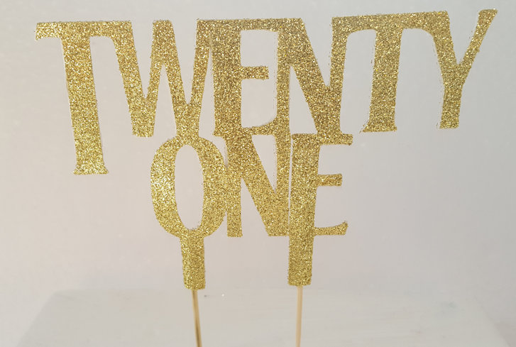 Twenty one cake card topper