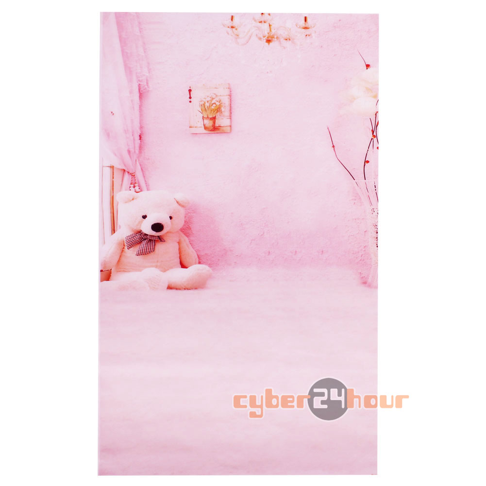 3x5ft Pink bear backdrop photography background