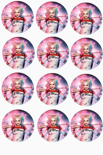 12 Large Harley Quinn Edible Cupcake Toppers