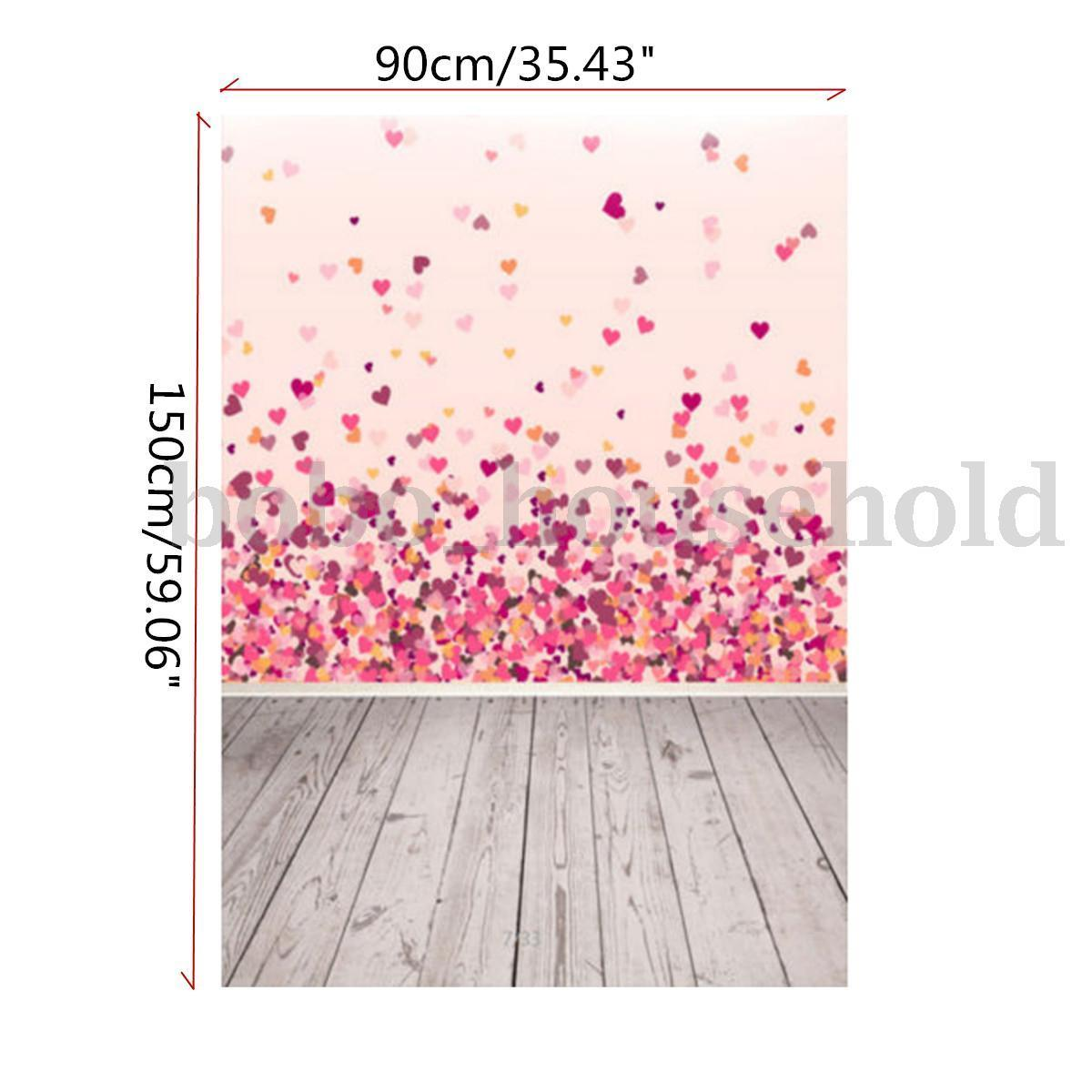 3X5ft Photography Background Pink Love Heart Vinyl Photo