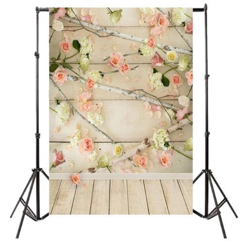 3x5ft Vinyl Background roses wall wood Backdrop