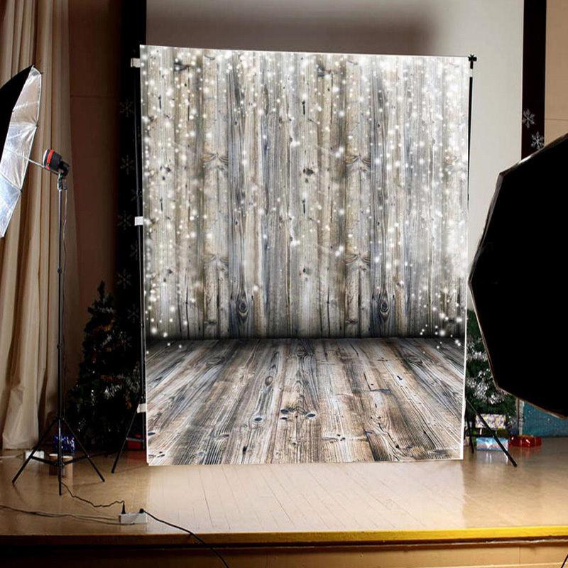 3x5FT Dreamy Grey Wooden Wall & Floor Backdrop