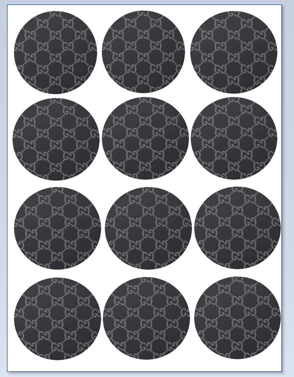 gucci circle cupcake toppers x 12