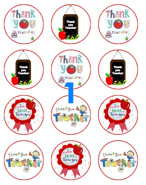 Teacher cupcake toppers icing sheet or sugar sheet