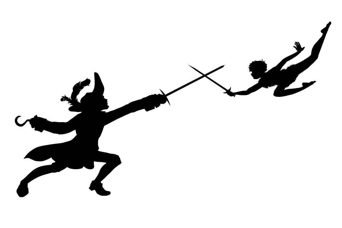 Peter Pan and Hook sugar silhouette cut out