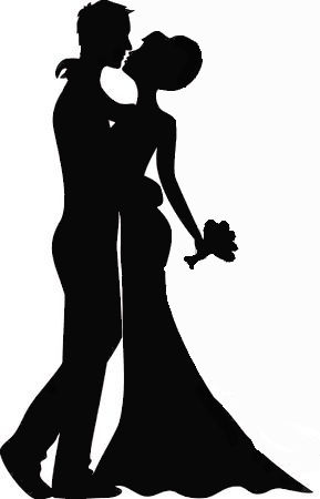 married couple sugar silhouette cut out