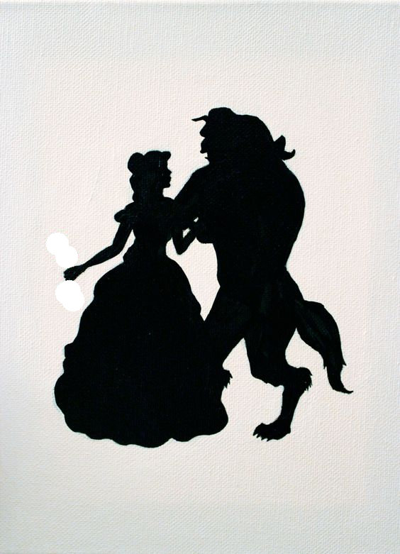 Beauty and the Beast sugar silhouette cut out