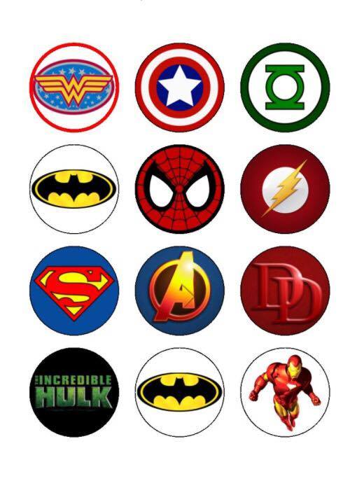 Superhero Cupcake Toppers X 12