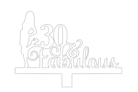 30 & Fabulous with lady cake card topper