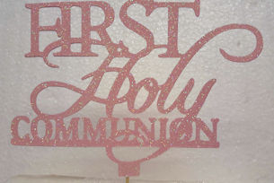 First and holy communion cake card topper