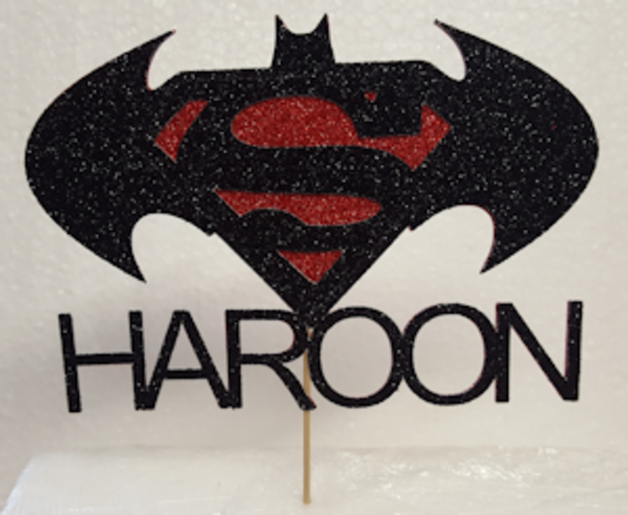 Batman V Superman cake card topper