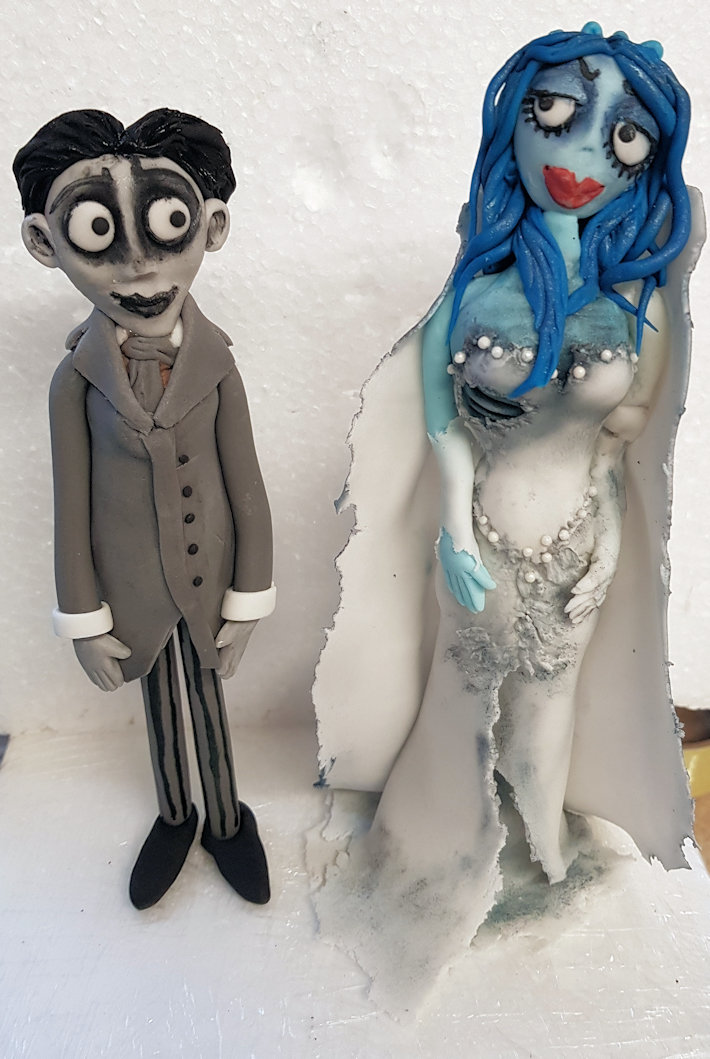 Corpse Bride Victor & Emily cake toppers