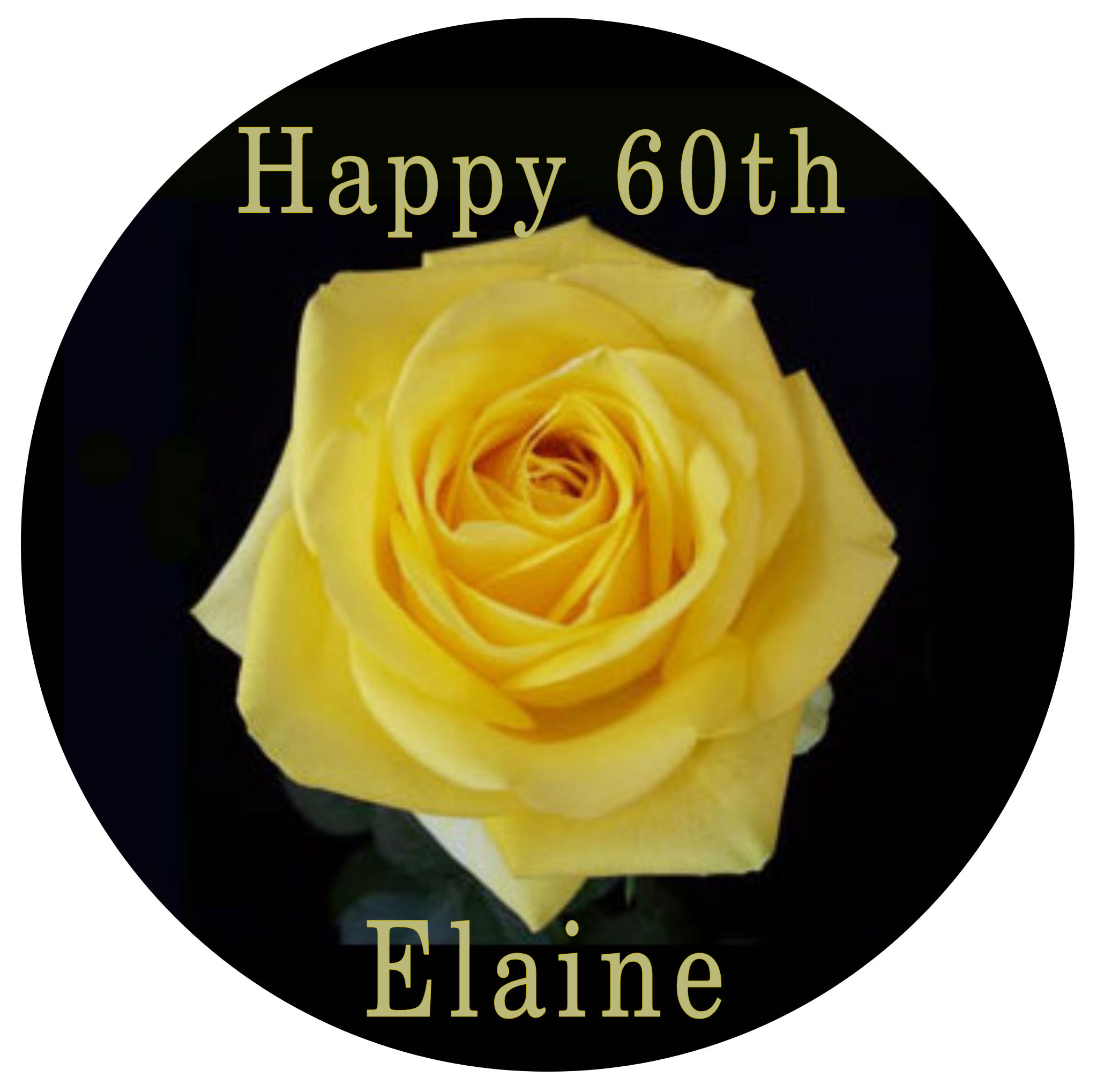 Yellow rose with own wording topper