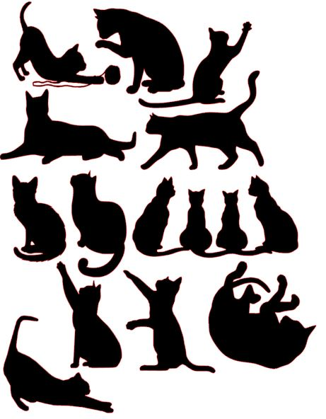 Mix of Cats sugar silhouette cut out
