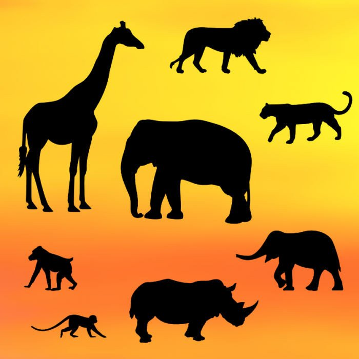 Safari animals silhouette cut outs