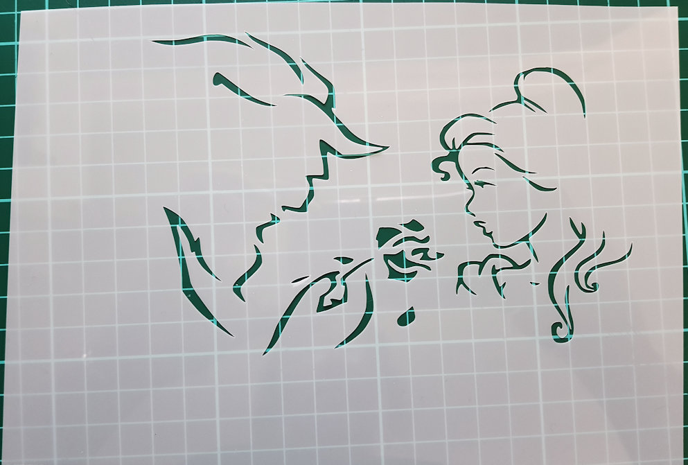 Beauty and the beast faces stencil