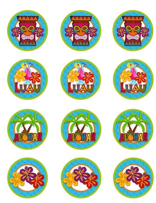 12 Hawaiian themed cupcake toppers