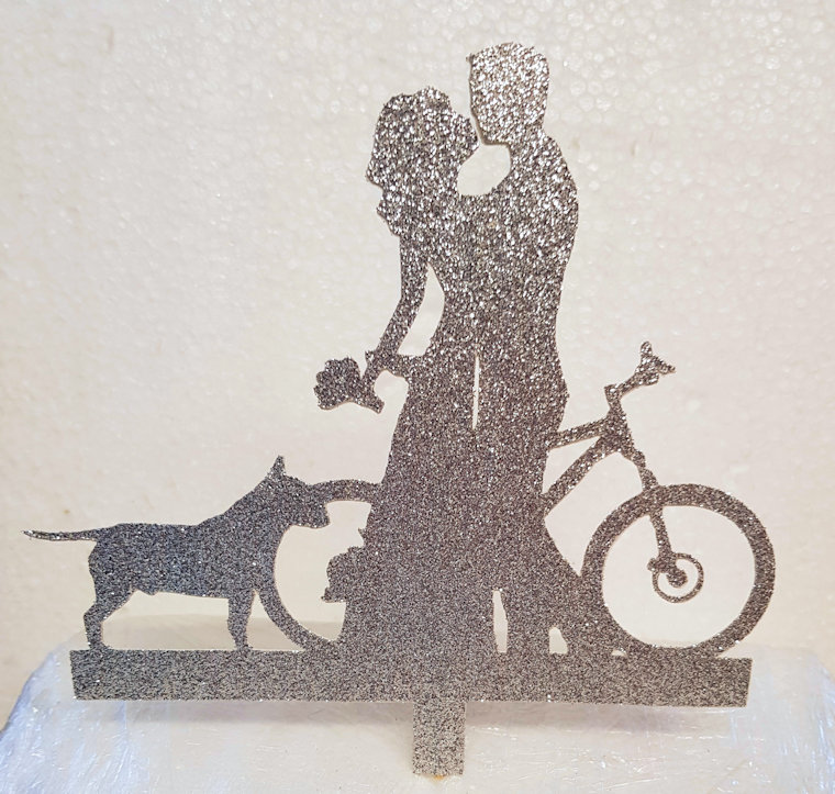Mr & Mrs with bull terrier,mountain bike,cake card topper