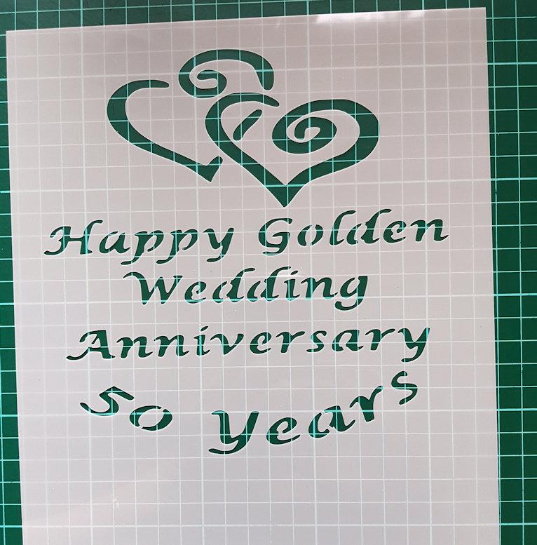 Happy Golden Wedding 50 years stencil