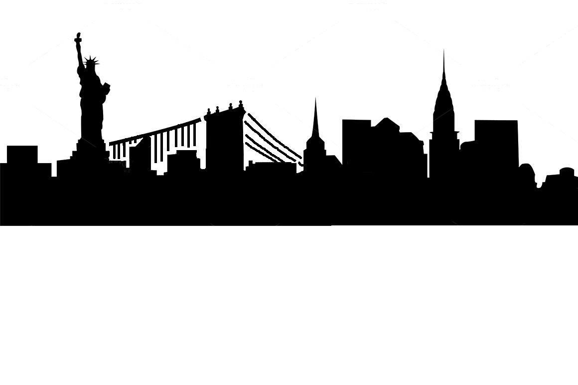 New York skyline Stencil with bridge