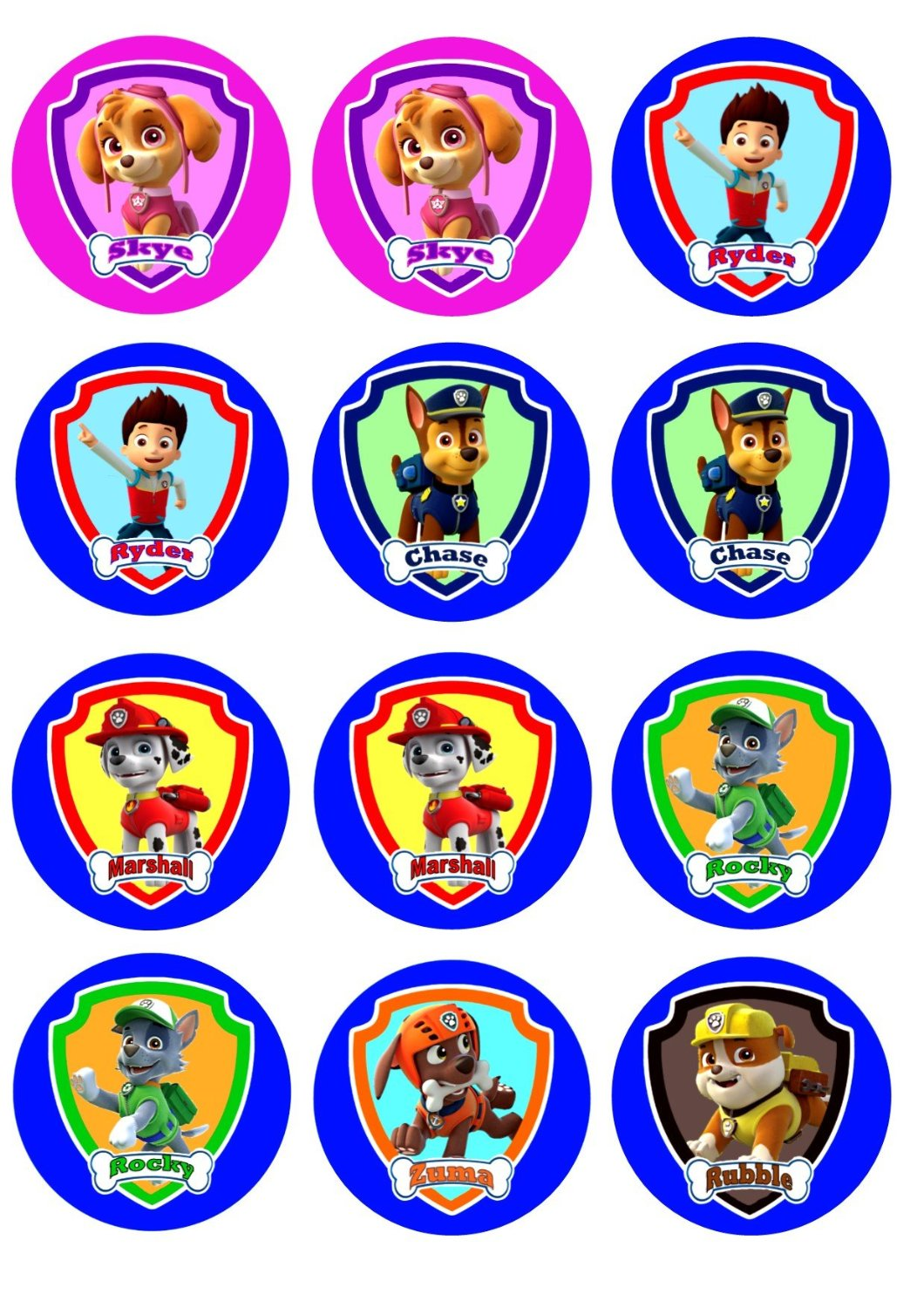 12 paw patrol cupcake toppers