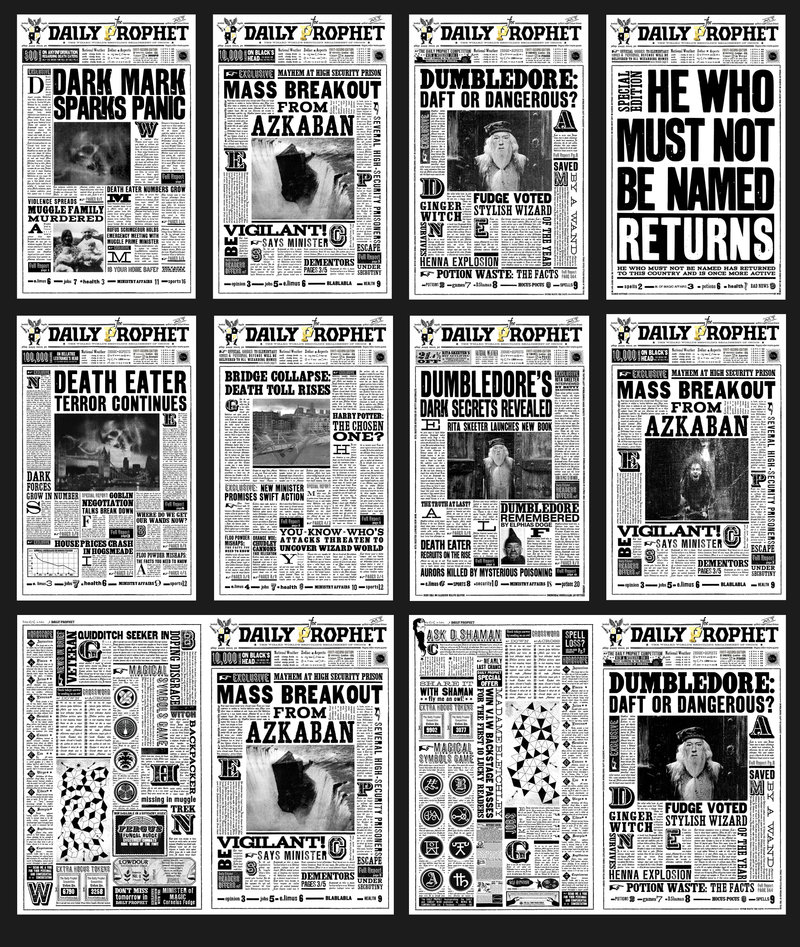 Harry potter newspaper clippings A4