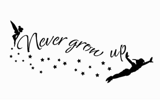 Peter Pan Never Grow Up Wording Stencil