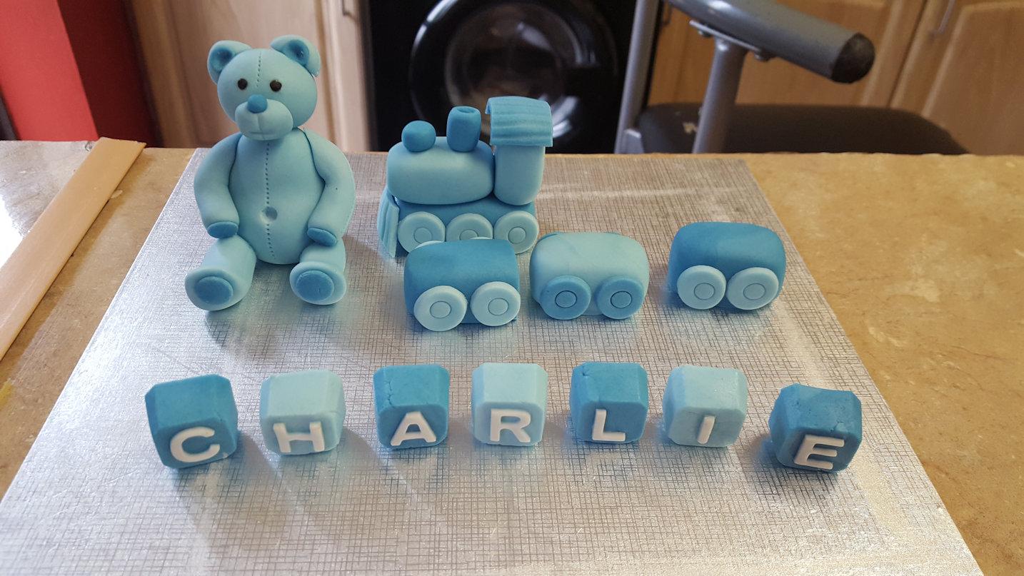 Teddy Bear or Train with bricks cake or cupcake topper