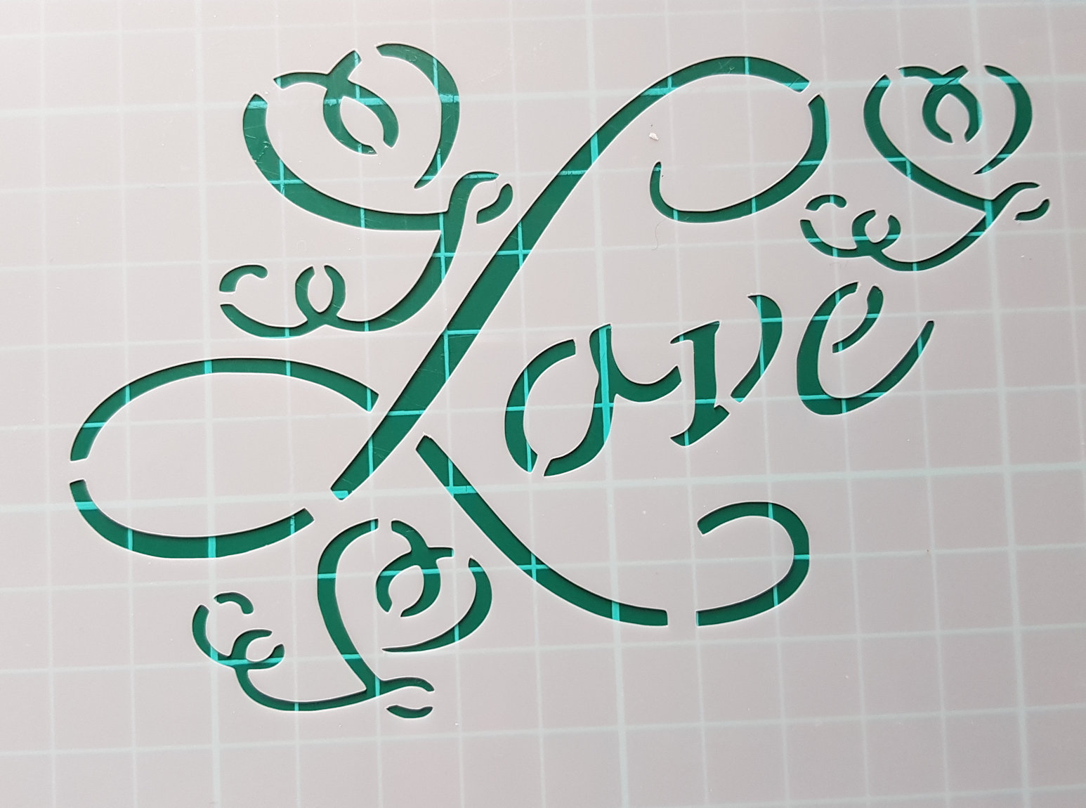 swirl Love stencil cake decorating