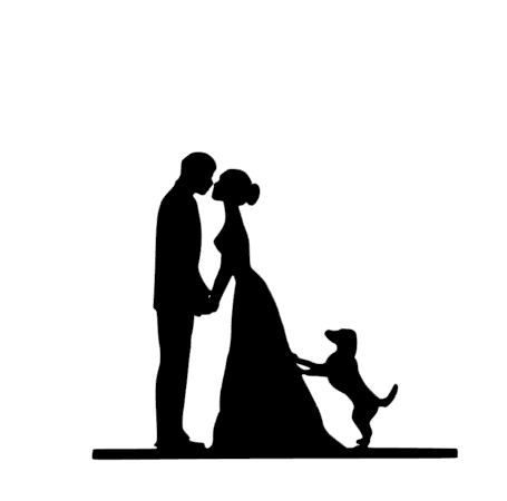 Wedding couple with dog cake card topper
