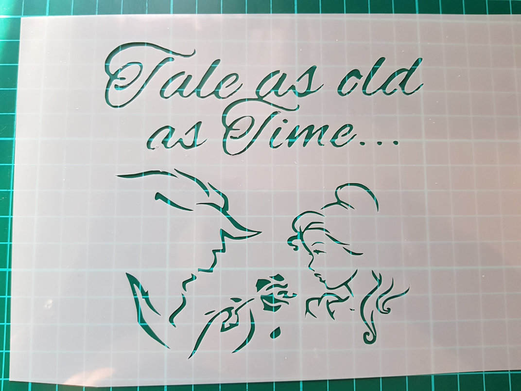 Beauty and the beast faces and wording stencil