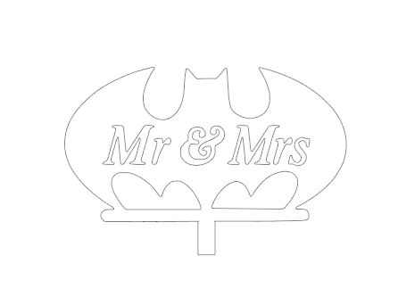 Mr & Mrs Bat sign cake card topper