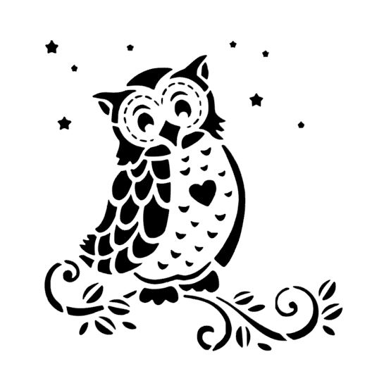 Love owl stencil cake decorating