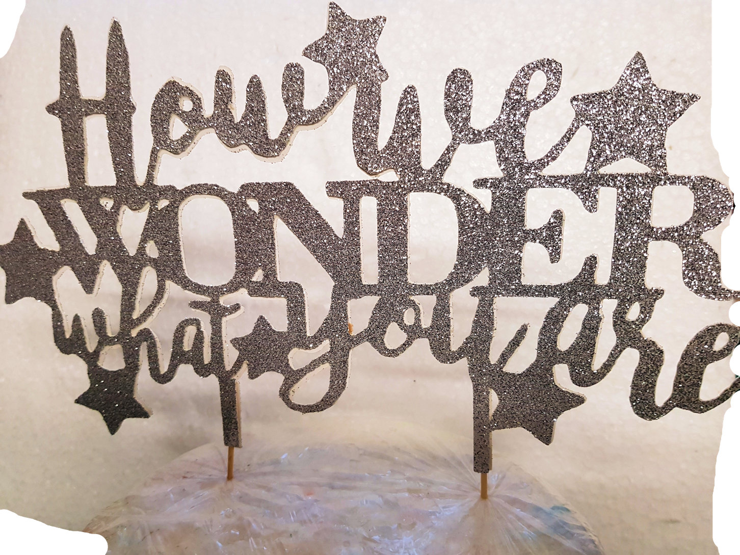 how we wonder what you are cake card topper
