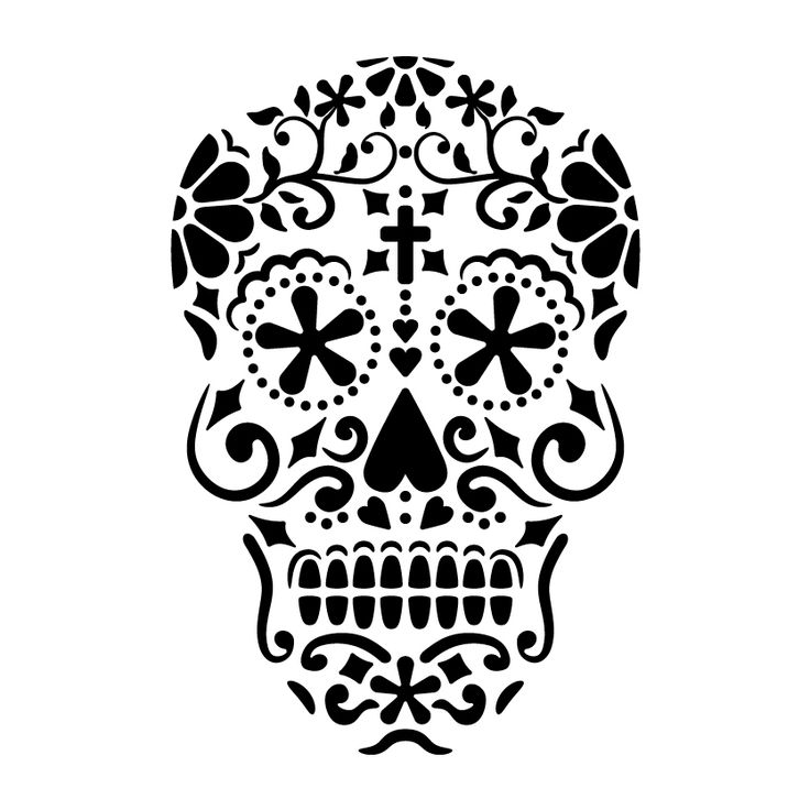 Day of the dead 2 skull stencil