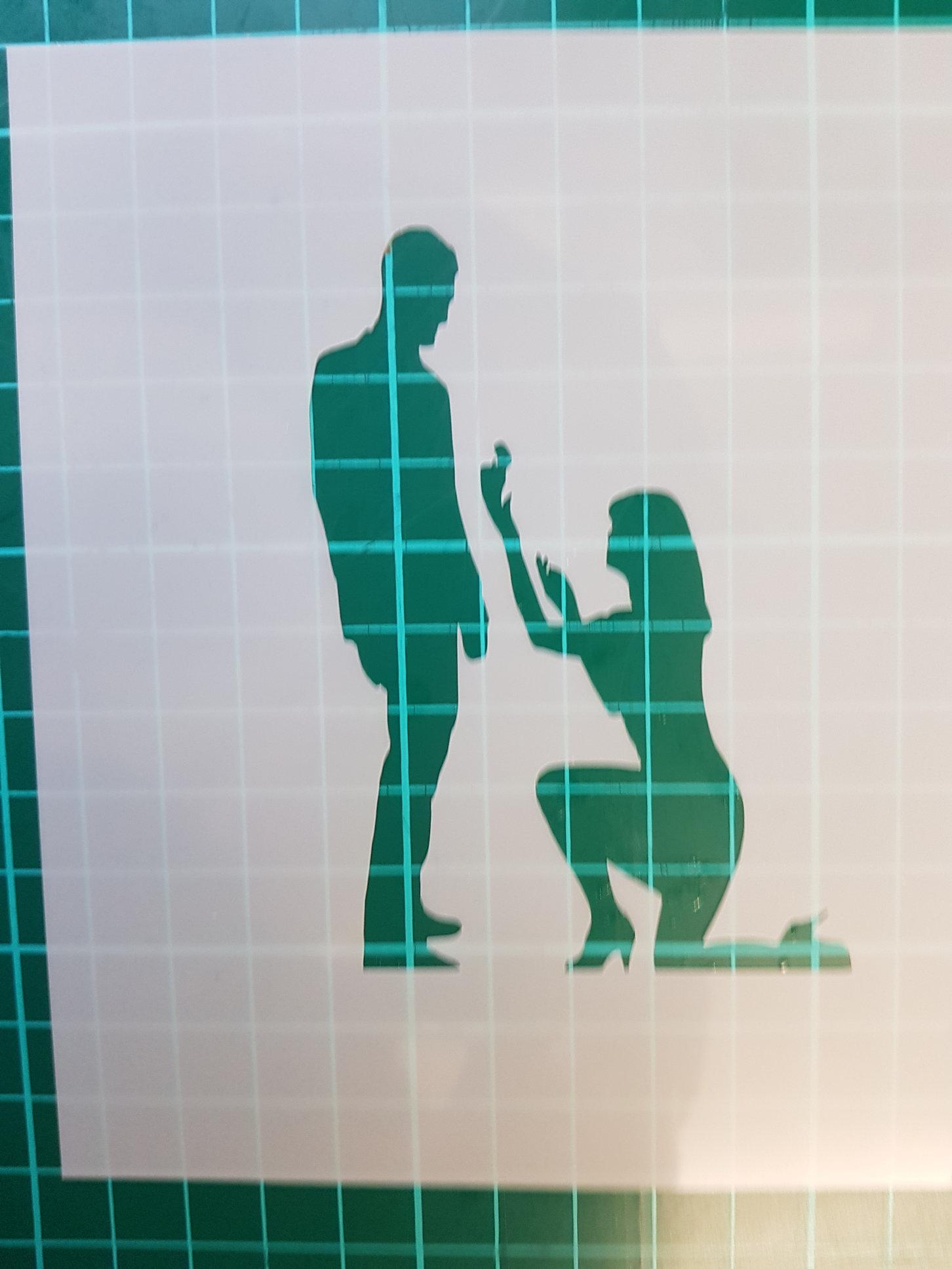 proposal lady to man stencil