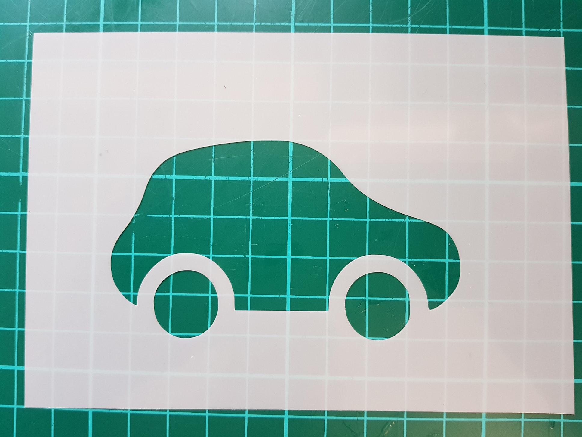 Cartoon car stencil cake decorating
