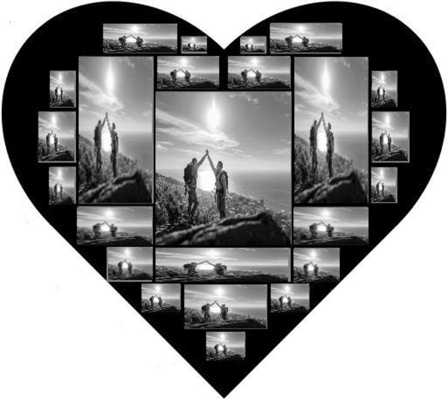 23 photos into a heart design with own photos icing sheet, sugar sheet A4