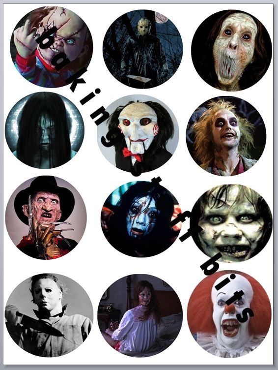 Halloween Scary Movie Cupcake Toppers X 12