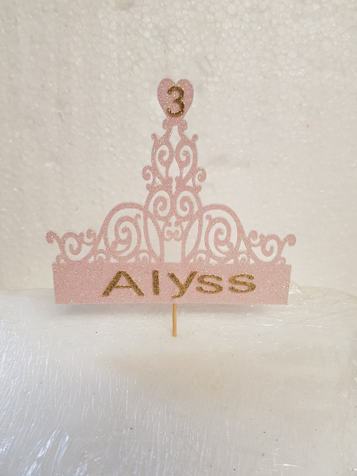 Princess crown with age and name cake topper