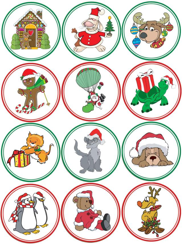 Christmas Cupcake Toppers.Christmas Cupcake Toppers X 12