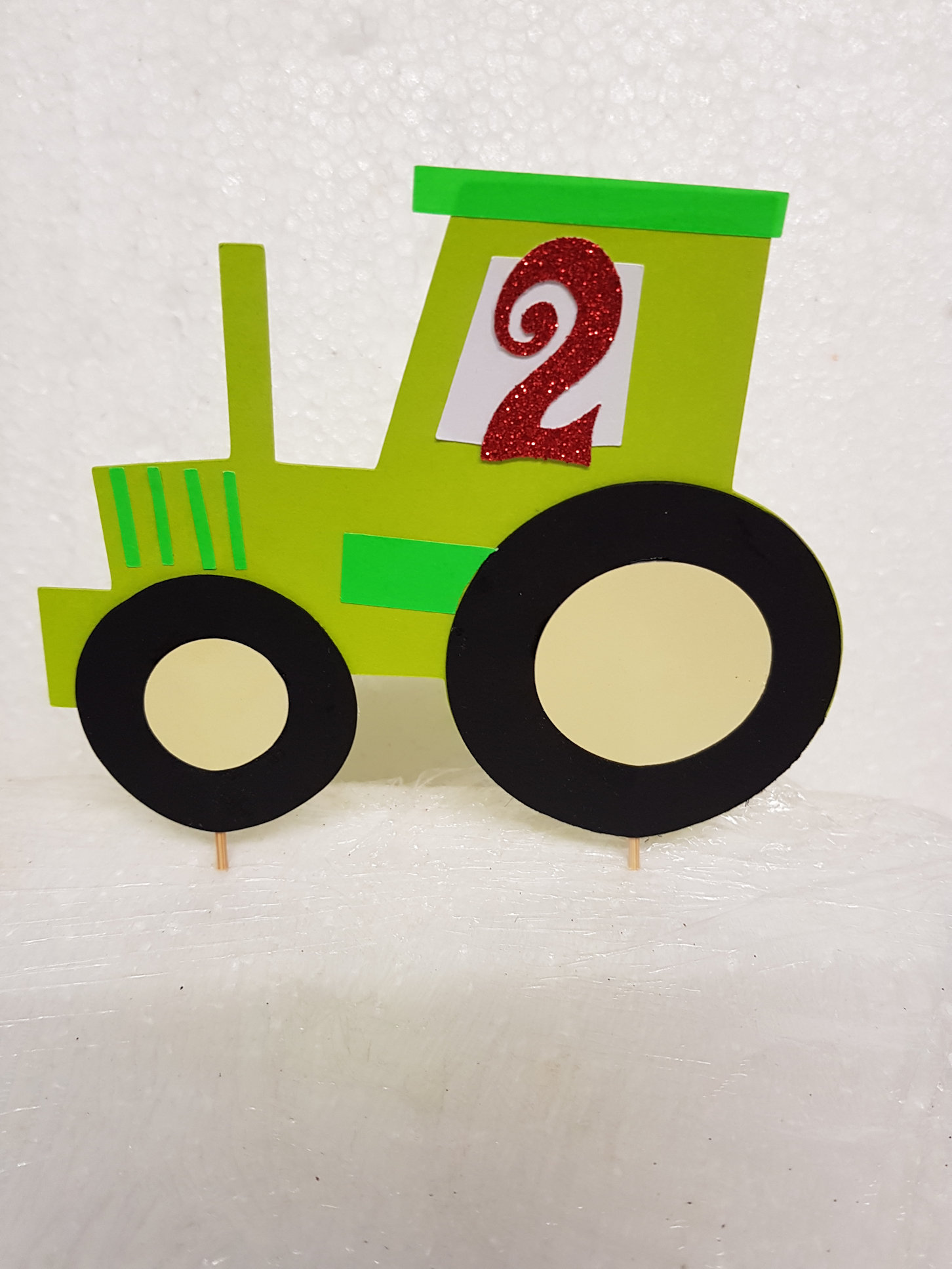 Tractor cake card topper double card